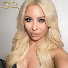 8A Brazilian Virgin Hair Glueless Full Lace Wig Color 613 Blonde Wavy Hair Front Lace Wigs Bleached Hair Body Wave Blonde Hair