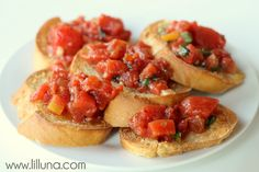 Homemade Bruschetta. YUM!! Recipe on { lilluna.com } #bruschetta