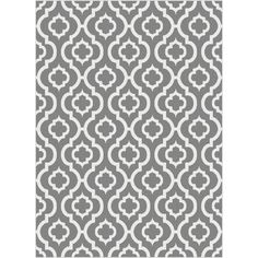 Update your decor setting with this modern architectural Moroccan tile design rug in well-crafted lines of sterling grey and white.