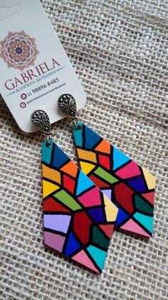 Fabric Earrings, Wooden Earrings, Wooden Jewelry, Diy Earrings, Terracotta Jewellery Making, Terracotta Jewellery Designs, Paper Quilling Jewelry, Polymer Clay Jewelry, Textile Jewelry