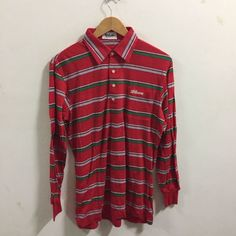 WILSONs 80s 90s Vtg Stripes Polo Reds Shirt Color Block Size M Medium L/S | eBay