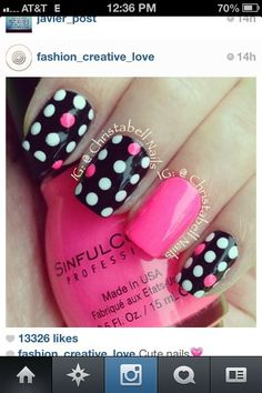 black pink and white or multicolor polka dot nails