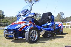 John and Rose England's patriotic Can Am Spyder and trailer… Tricycle, Harley Davidson Trike, Can Am Spyder, Trike Motorcycle, Us Road Trip, 3rd Wheel, T Rex, Cool Bikes, Canning