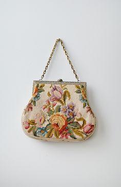 vintage 1950s needlepoint floral frame bag