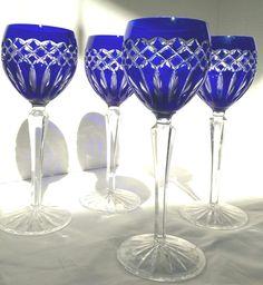 AJKA Cadessia HUNGARY Set of 4 Cobalt Blue Cut to Clear Crystal Wine Glasses #Ajka