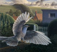 The Hedging of the Cuckoo, egg tempera on gesso coated wood panel, JAMES LYNCH  has depicted the Somerset and Wiltshire countryside from a distinct aerial perspective, inspired by years of soaring the skies with his paraglider. Many of the paintings are pure dramatic panoramas drenched in light, whilst other aerial views provide the backdrop for his birds and animals, which fill the foreground and bring a playful naivety and narrative to the landscapes.