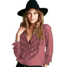 Free People Ruffle Tuxedo  Blouse PRICE IS FIRM Raspberry color, tailored sides, great for layering or wearing under a blazer. Free People Tops Blouses