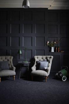 dark panelled walls in beckenham house via shoot factory