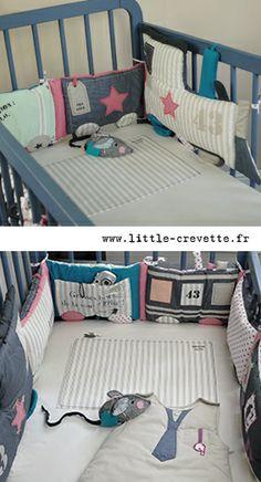 Tour de lit train - entièrement réversible sur www.little-crevette.fr