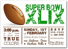 Super Bowl Party invite wwwqueenbeegraphicscom Queen Bee Samples