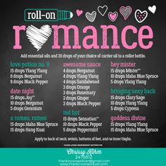 ROMANCE ROLL-ON RECIPES - Valentine's Day inspired roll-on recipes.  Love Potion #9, Date Night, O' Romeo, Romeo, Awesome Sauce, Red Hot, Hey Mister, Bringing Sexy Back, Goddess Divine.  /  Young Living, essential oils, roll-on recipes, DIY roll-ons, valentine's day gifts, make & take, quick and easy, Frankincense 4 Ever, F4E