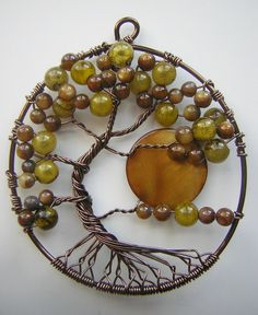 Twisted Green Tree of Life with Moon *SOLD* by RachaelsWireGarden.deviantart.com on @deviantART