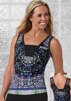 """Medallion Print Tank  22"""" length, front lined, black inset at bust and back. Embroidered logo. Micropoly/Supplex/Lycra"""