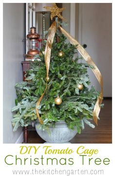DIY Tomato Cage Christmas Tree : No cost mini Christmas tree? With a tomato cage, empty planter, and scrap limbs this craft is fast and easy! Real Mini Christmas Tree, Traditional Christmas Tree, After Christmas, Noel Christmas, Outdoor Christmas, Handmade Christmas, Christmas Crafts, Christmas Decorations, Christmas Ideas