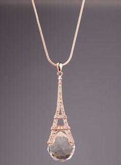 Paris Eiffel Tower drop necklace