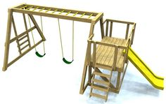 Free plans: 4x6 DIY swing set plan with monkey bars, ladders and slide