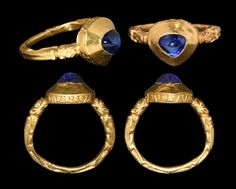 14C English gold ring set with a sapphire -- legend around bezel reads MARIA ADIVVA [Mary, help]] -- timelineauctions Dec 2016 sale; formerly PAS Database DENO-D1A913