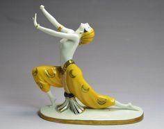 RARE GOEBEL LORENZL ART DECO DANCER PORCELAIN FIGURINE - DOUBLE CROWN MARK #ArtDeco #Goebel #Goldscheider