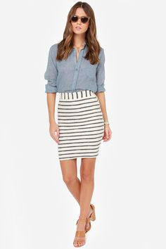 Striped skirt with chambray top :: JOA Lines of Duty Cream Striped Pencil Skirt at LuLus.com