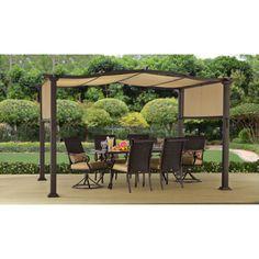 Outdoor Pergola 12FT x 10 FT Gazebo Garden Patio Steel Frame Shade Brown Protect #BetterHomesandGardens
