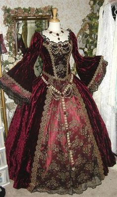 Elizabethan Garnet Red Reproduction Frock - Velvet on silk embroidery?