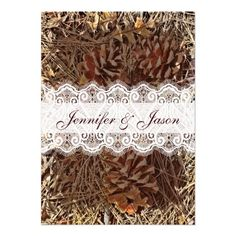 Rustic Camo Camouflage Lace Wedding Invitations
