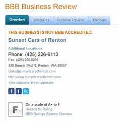 BBB has issued a #warning about a #Renton‬ auto dealer.