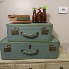 Vintage Luggage Set Seadfoam green/blue luggage by oZdOinGItagaiN, $50.00
