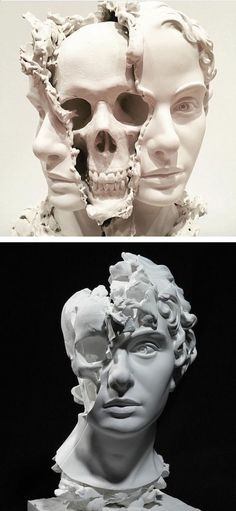 Death Visceration, a surreal sculpture by Taiji Taomote, features the face of a woman whose head has been split open to reveal her skull.Thought-Provoking Sculpture of Split Head Reveals a Hauntingly Surreal Skull Within Skull Art, Skull Head, Art Auction, Dark Art, Oeuvre D'art, American Art, Art Inspo, Amazing Art, Illustration