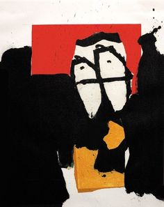 23rd-block:  Robert Motherwell, The Black and the Red, Number XXV. 1987. Acrylic and paper collage on paper.