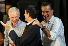 Paul Ryan Shoes Off | Former Massachusetts Gov. Mitt Romney (R) jokes with Rep Paul Ryan (C ...