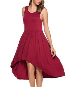 Women Long Sleeve V-Neck Solid Shift Asymmetric Loose Midi T Shirt Tunic Dress - Wine Red 2 - Clothing, Dresses, Casual Mini Dresses, Women's Dresses, Casual Dresses, Women's Clothing, Tunic, V Neck, Wine, Clothes For Women, Long Sleeve
