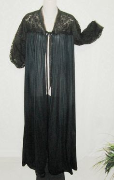 819889989d Size 34 peignoir - Dressing gown - Robe - by Rogers -Vintage - Black - Full  Length - Nylon - Lace - 3 4 black lace sleeves