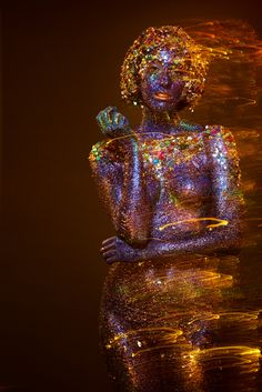 I glittered an entire human. body paint glitter 3 lbs of it! Paint Photography, Artistic Photography, Portrait Photography, Neon Licht, Creative Portraits, Face Art, Body Art, Photoshoot, Statue