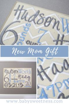 Embroidered Birth Announcement - Customized New Baby Gift - Nursery Decor - 8 X 10 Canvas - Birth Record - Baby Collage - Birth Stats Grey Chevron Nursery, Baby Collage, Birth Records, Frame It, Framed Canvas, New Baby Gifts, Nursery Decor, Announcement, New Baby Products