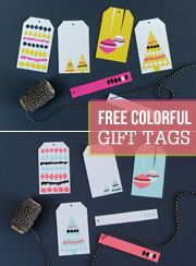 Colorful and graphic holiday gift tag printables! Free! (Must remember to print these.)