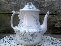 "Antique Johnson Brothers ""Mignon"" Pattern Coffeepot, 1800's English Tea Pot, Transferware, Serving, Display on Etsy, $88.00"