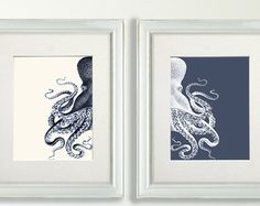 Four prints of sea urchin and coral in blue Great prints for a bathroom or area that you want to add a nautical theme to.  Our prints are lovingly printed on high quality fine art paper, which is completely acid free. We use high quality inks to ensure that your print is long lasting. The print is wrapped in a protective plastic sleeve and shipped to you in a sturdy cardboard envelope.   Created by English artist Kelly Stevens-McLaughlan, NauticalNell art prints invoke thoughts of warm…