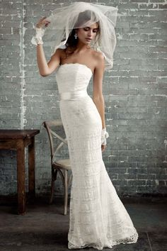 Galina, Exclusively at David's Bridal  -- I tried this one on.  Very classic bridal