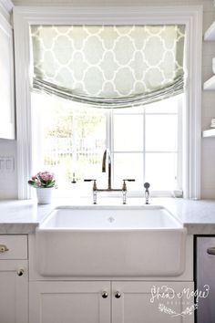 Patterned Kitchen Roman Shade - Shea Mcgee Design