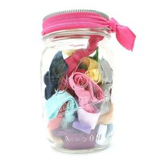 Mason Jar Gift Idea!- would be great for a baby girl gift...add some removable bows or flowers to interchange and a cute bow on top...awesome :-)