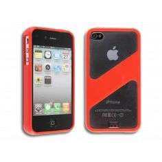 GRATIS iPhone 4(S) TPU Half Transparant Hoesje - Rood (t.w.v. €13,95) - Hoesjes - iPhone 4(S) - Telefoon Accessoires