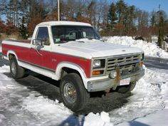 two tone red white lifted Ford truck in the Winnipeg snow 85 Chevy Truck, Chevy Trucks For Sale, Lifted Chevy Trucks, Ford Pickup Trucks, Ford 4x4, Lifted Ford, Chevrolet Trucks, Big Trucks, Truck Lift Kits