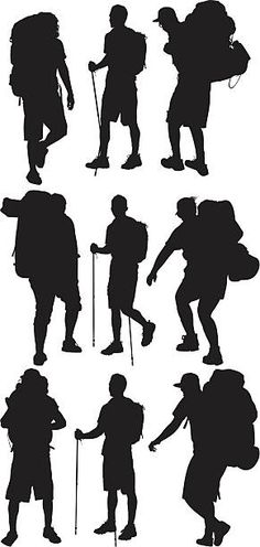 Varias imágenes de hikers Silhouette Painting, Silhouette Png, Hiking, Shading Drawing, High Resolution Picture, Montages, Sketch, Illustrations, Drawings
