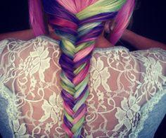 pink, purple, green, blue hair