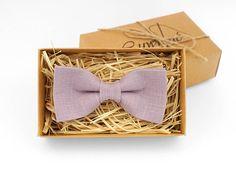Pale purple bow tie Bow tie for wedding pale linen tie