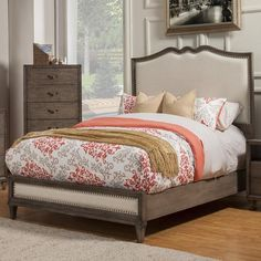Charleston King Panel Bed in Antique Grey | Nebraska Furniture Mart