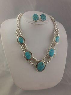 Native American Navajo Indian Jewelry SS Bead High Grade Blue Kingman Necklace