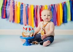 Colorful cake smash, love the jeans and the tie!  Cake Smash! » Sweet Sky Photography