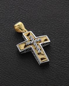 Σταυρός Βάπτισης δυο όψεων Χρυσός & Λευκόχρυσος με Ζιργκόν Christian Symbols, Crosses, Christianity, Cufflinks, Letters, Accessories, Jewelry, Rings, Objects